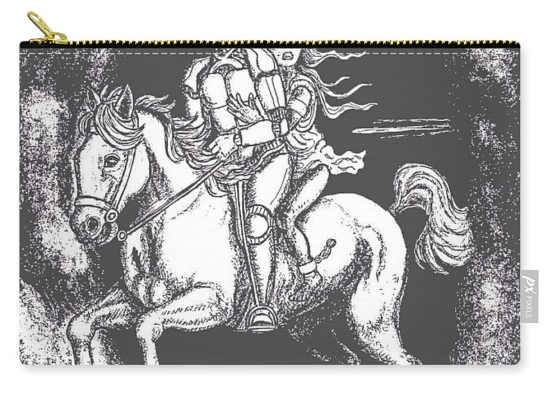Science Fiction Carry-all Pouch featuring the drawing Escape by Linda Mears