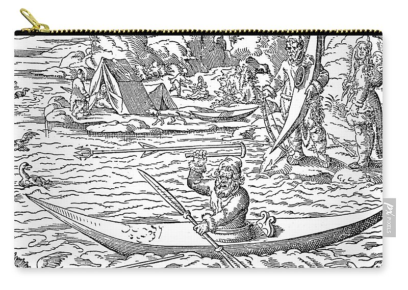 1580 Carry-all Pouch featuring the painting Eskimos Hunting, 1580 by Granger