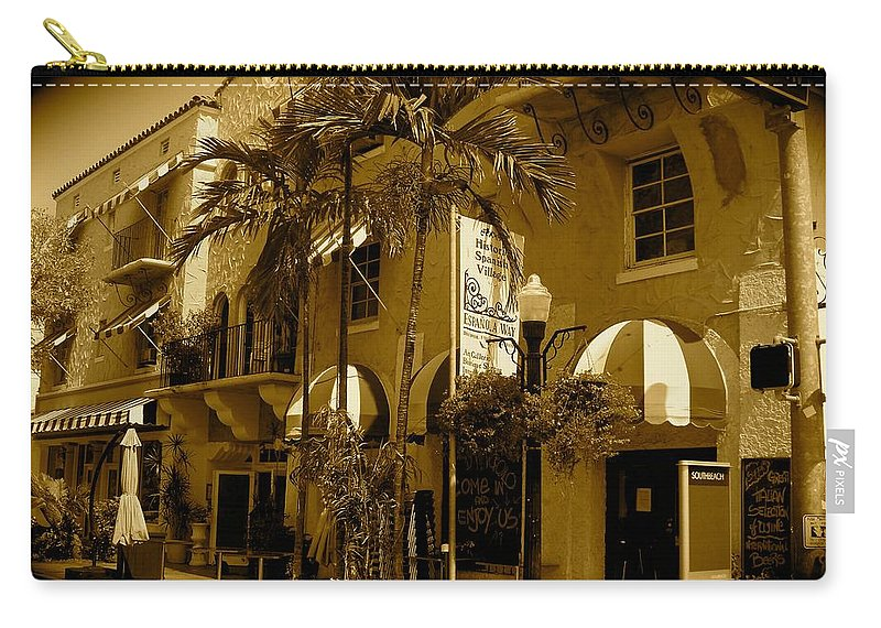 Espanola Way Miami Print Carry-all Pouch featuring the photograph Espanola Way In Miami South Beach by Monique's Fine Art