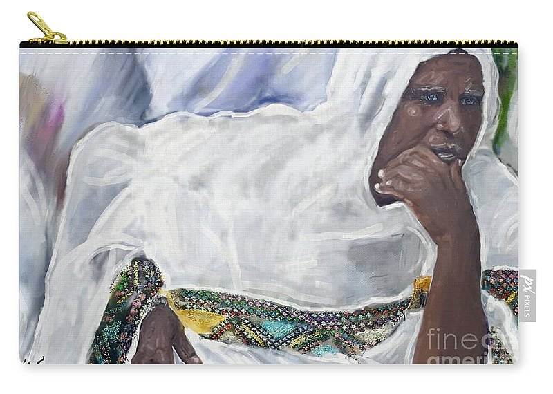 Watercolor Carry-all Pouch featuring the painting Ethiopian Orthodox Jewish Woman by Vannetta Ferguson