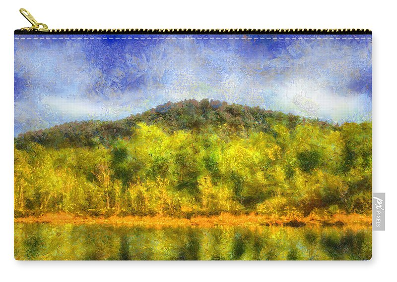 Etowah River Carry-all Pouch featuring the digital art Etowah Reflections by Daniel Eskridge