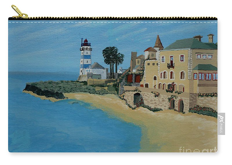 Lighthouse Carry-all Pouch featuring the painting European Lighthouse by Anthony Dunphy