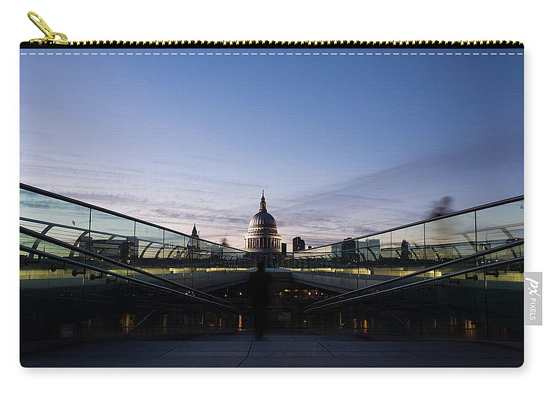 St Paul's Cathedral Carry-all Pouch featuring the photograph Even The Clouds Aligned With St Paul's Cathedral And The Millennium Bridge - London by Georgia Mizuleva