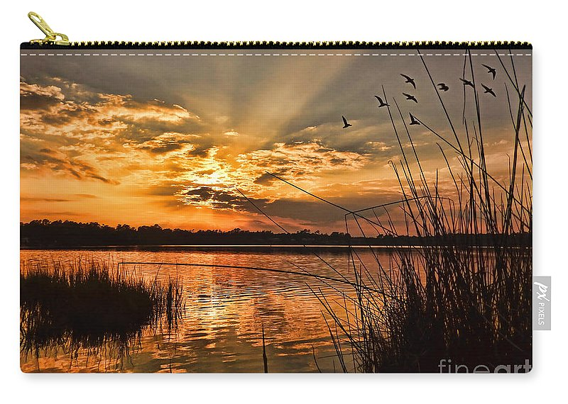 Seascape Carry-all Pouch featuring the photograph Evening Calm by Kelley Freel-Ebner