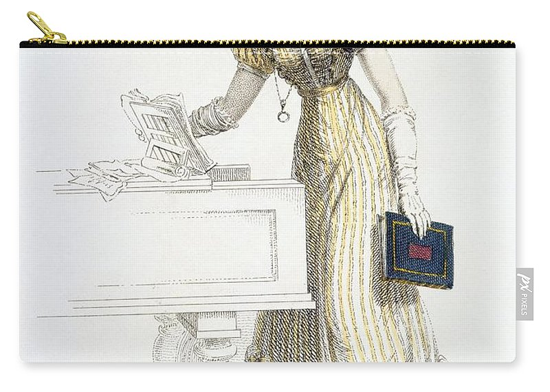 Costume Carry-all Pouch featuring the drawing Evening Dress, Fashion Plate by English School