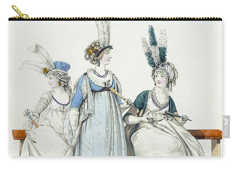 Clothing Carry-all Pouch featuring the drawing Evening Dresses For The Opera by Nicolaus von Heideloff