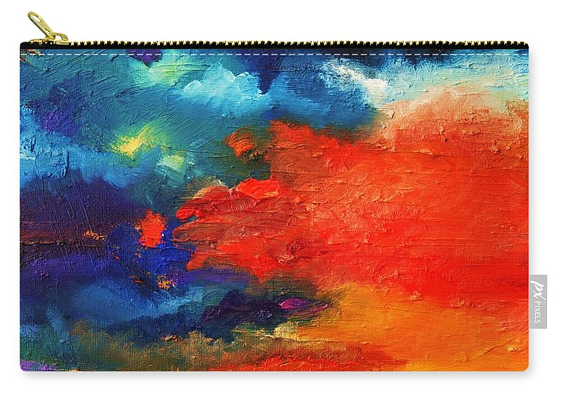 Sky Carry-all Pouch featuring the painting Evening Glow by Misuk Jenkins