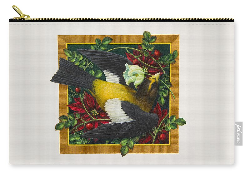 Christmas Carry-all Pouch featuring the painting Evening Grosbeak by Lynn Bywaters