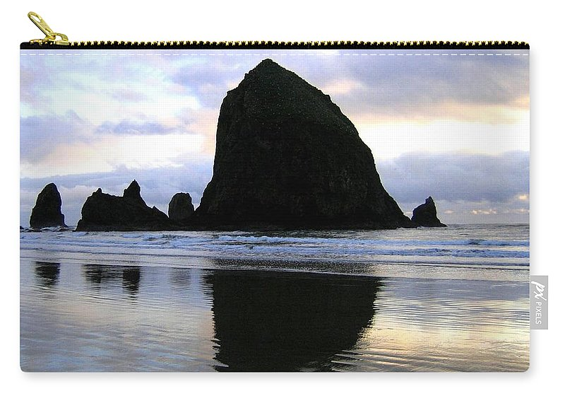 Haystack Rock Carry-all Pouch featuring the photograph Evening Luster by Will Borden