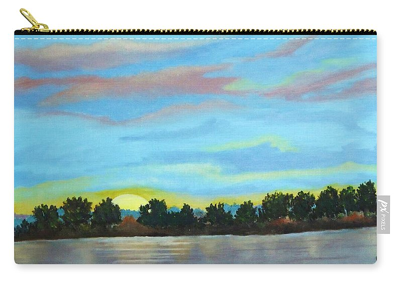Landscape Carry-all Pouch featuring the painting Evening On Ema River by Misuk Jenkins