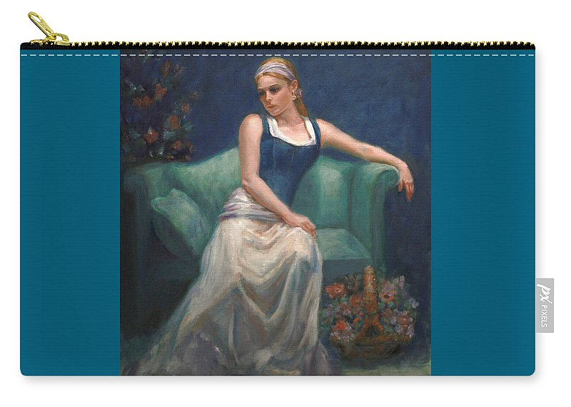 Beautiful Young Girl Carry-all Pouch featuring the painting Evening Repose by Sarah Parks