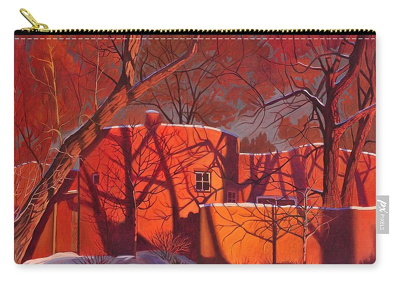 Taos Carry-all Pouch featuring the painting Evening Shadows On A Round Taos House by Art James West