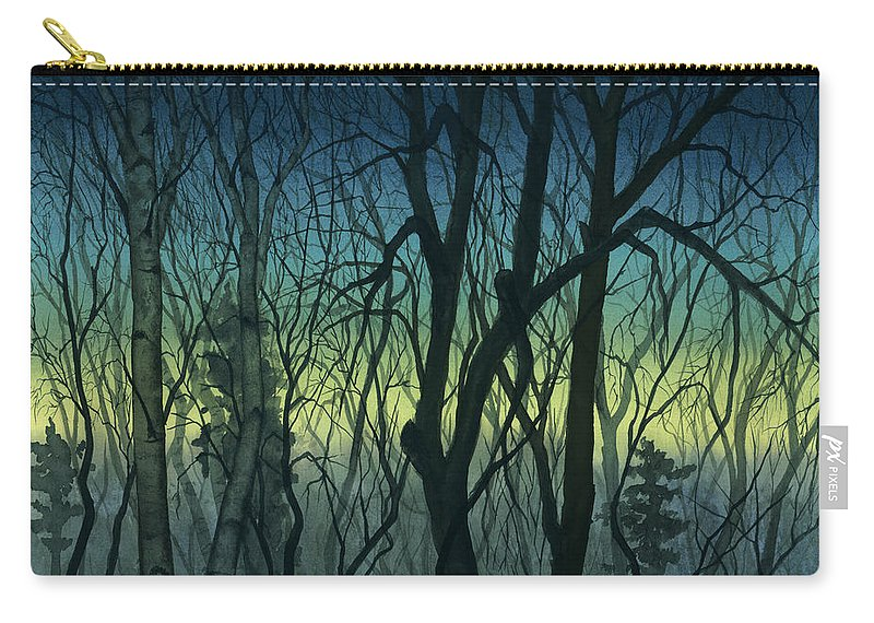Blue Carry-all Pouch featuring the painting Evening Stand by Mary Tuomi
