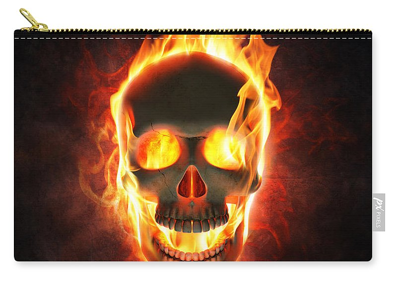 Skull Carry-all Pouch featuring the photograph Evil skull in flames and smoke by Johan Swanepoel