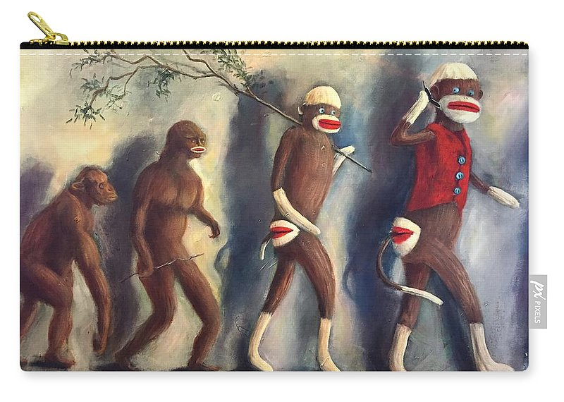 Evolution Carry-all Pouch featuring the painting Evolution by Randy Burns