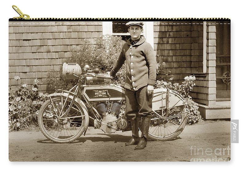 Excalibur Motorcycle Carry-all Pouch featuring the photograph Excalibur Motorcycle California Circa 1915 by California Views Archives Mr Pat Hathaway Archives