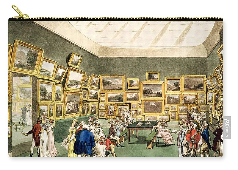 Gallery Carry-all Pouch featuring the drawing Exhibition Of Watercoloured Drawings by T and Pugin and AC Rowlandson