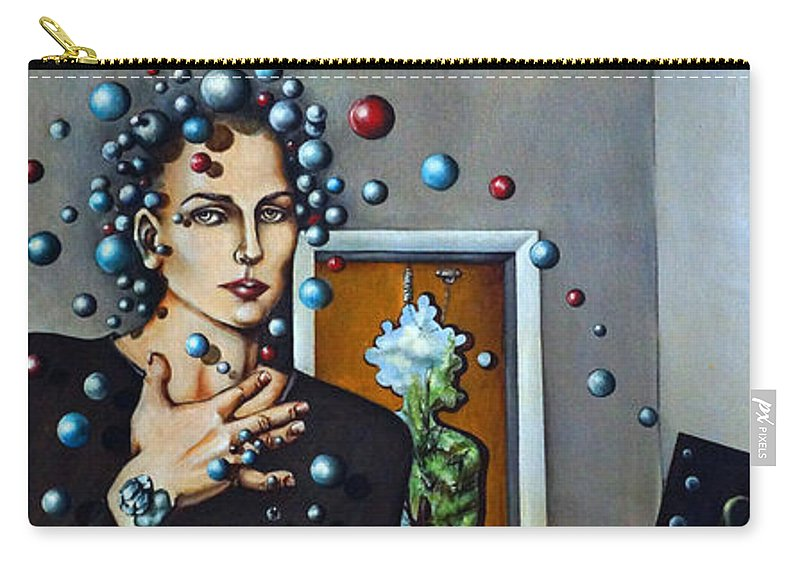 Surreal Carry-all Pouch featuring the painting Existential Thought by Valerie Vescovi