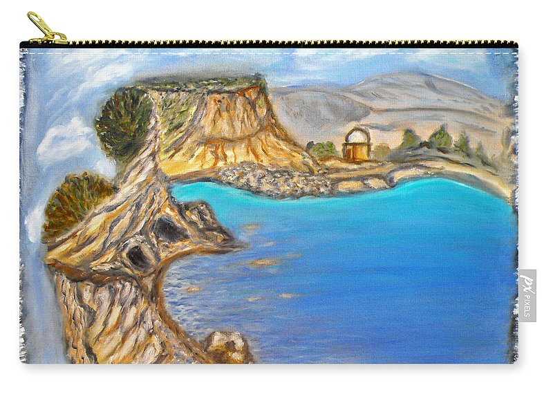 Exotic Beach Carry-all Pouch featuring the painting Exotic Beach Near Limassol by Augusta Stylianou