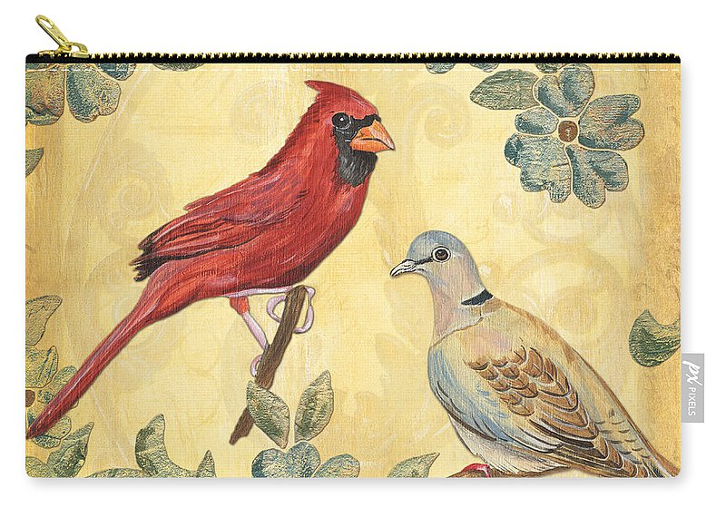 Birds Carry-all Pouch featuring the painting Exotic Bird Floral And Vine 2 by Debbie DeWitt