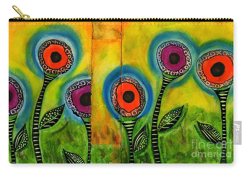 Abstract Carry-all Pouch featuring the painting Exotic Halos - Wip by Angela L Walker