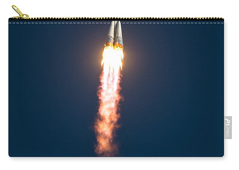 Baikonur Carry-all Pouch featuring the photograph Expedition 38 Soyuz Launch by Paul Fearn