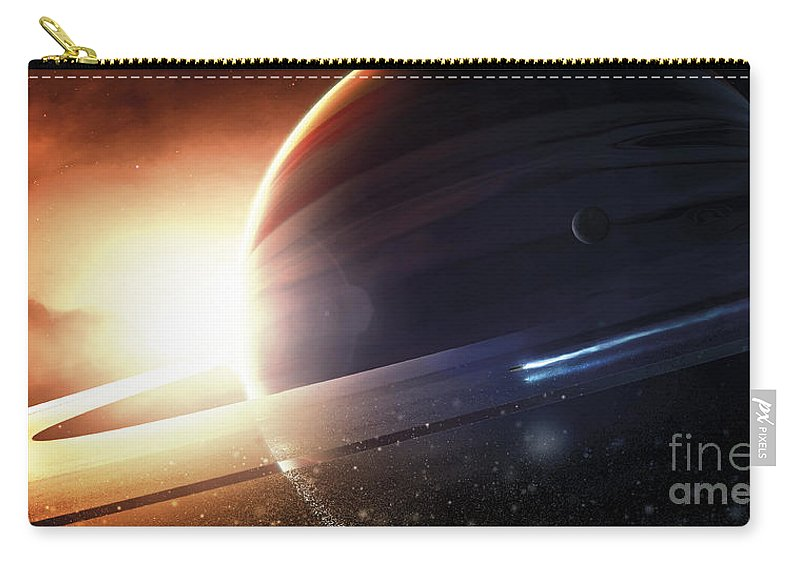 Horizontal Carry-all Pouch featuring the digital art Expedition To A Saturn-like Planet by Tobias Roetsch