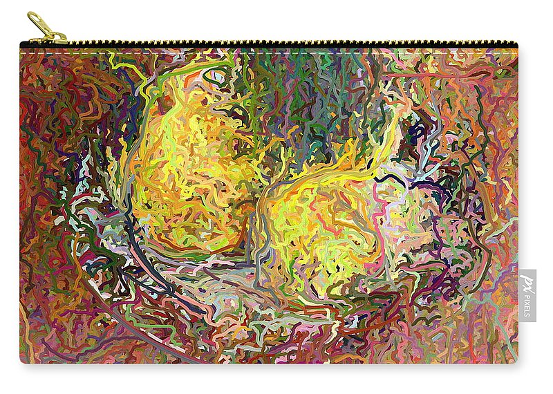 Epressionist Carry-all Pouch featuring the digital art Expressionist 2 Messy Pears by Frank Crescenti
