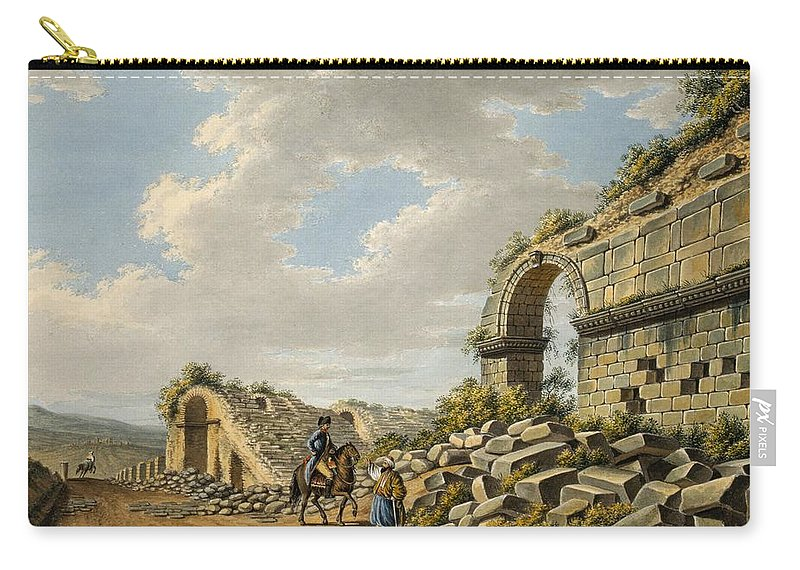 Roman Carry-all Pouch featuring the drawing Exterior Of The Ruined Roman Theatre by Gaetano Mercati