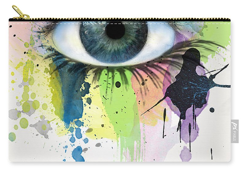 Illustration Carry-all Pouch featuring the painting eye by Mark Ashkenazi