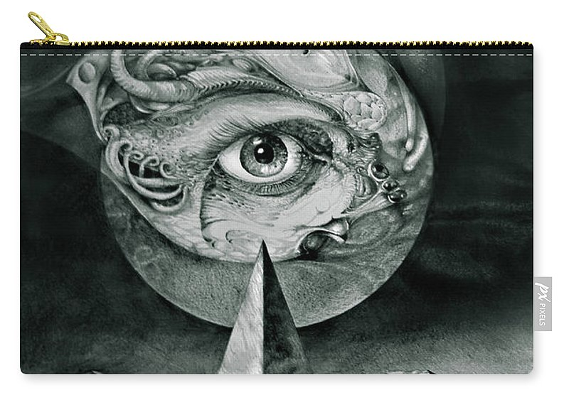 otto Rapp Surrealism Carry-all Pouch featuring the drawing Eye Of The Dark Star by Otto Rapp