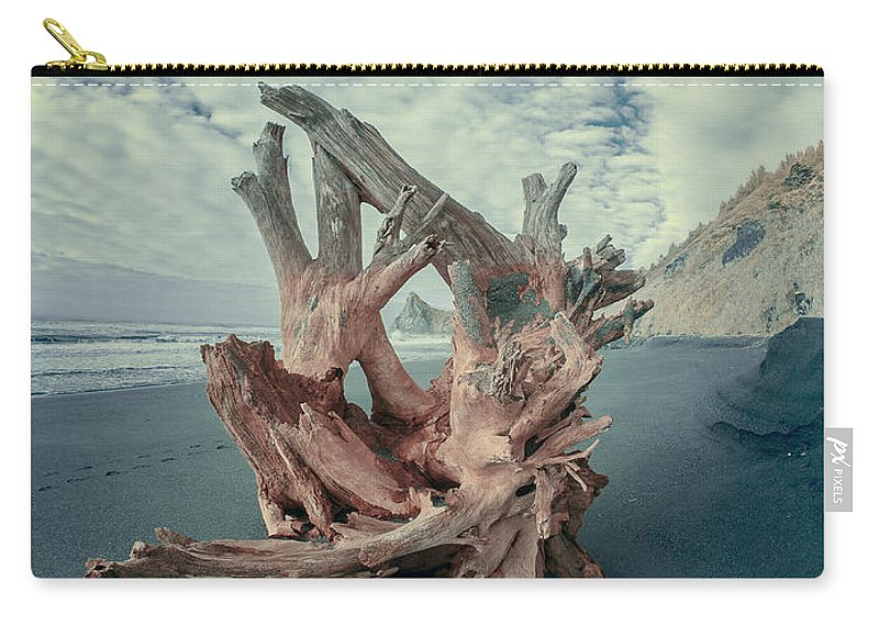 Infrared Carry-all Pouch featuring the photograph Eye Of The Driftwood by Greg Nyquist