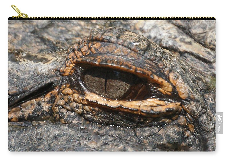 Alligator Carry-all Pouch featuring the photograph Eye Of The Gator by Ernie Echols