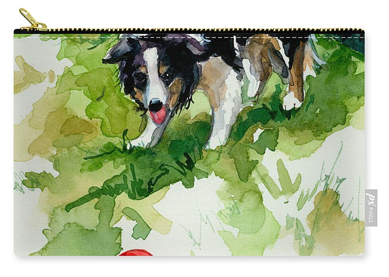 Border Collie Carry-all Pouch featuring the painting Eye On Tthe Ball by Molly Poole