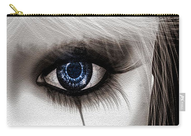 Harlequin Carry-all Pouch featuring the painting Eyes Of The Fool by Bob Orsillo