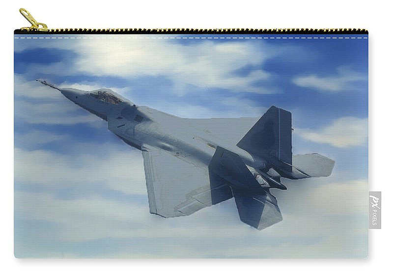Grandcanyonpics Carry-all Pouch featuring the photograph F22 Raptor Climbing In The Clouds by Bob and Nadine Johnston
