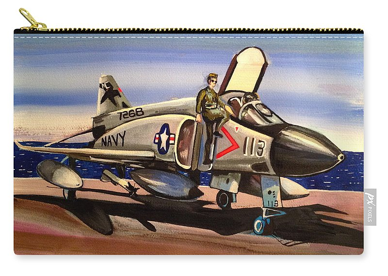 Navy Carry-all Pouch featuring the painting F4 Phantom by Britt Kuechenmeister