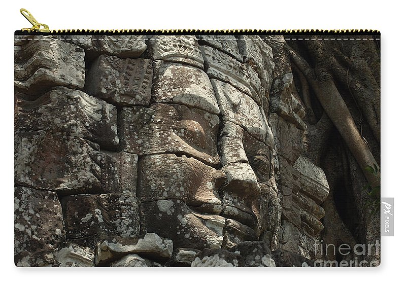 Angkor Wat Carry-all Pouch featuring the photograph Face At Banyon Ankor Wat Cambodia by Bob Christopher
