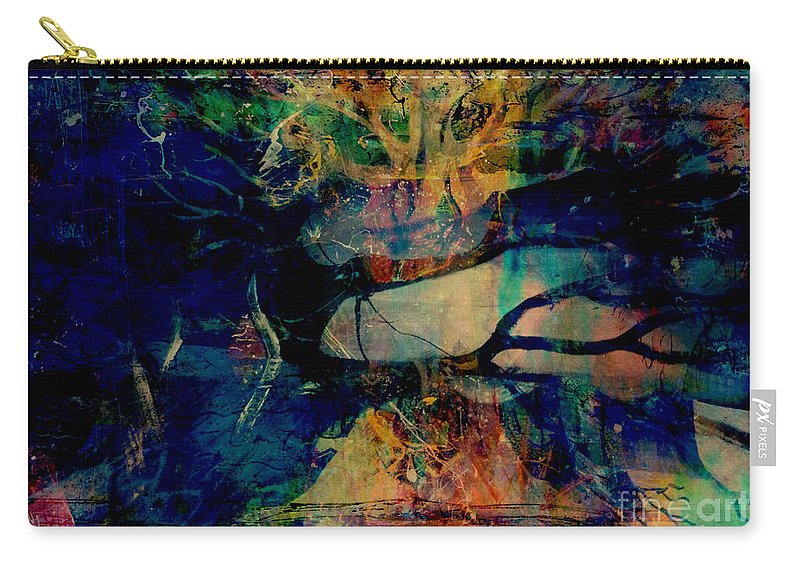 Fania Simon Carry-all Pouch featuring the mixed media Face Cachee by Fania Simon