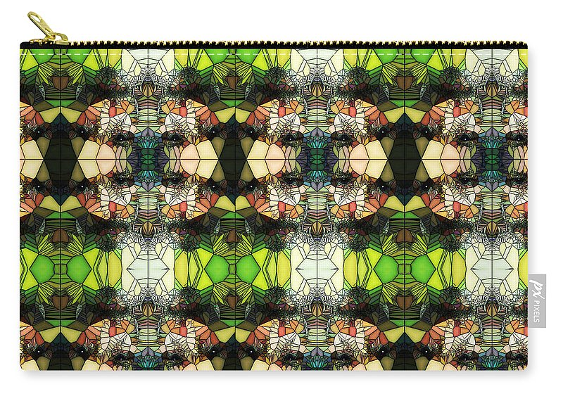 Clay Carry-all Pouch featuring the photograph Face In The Stained Glass Tiled by Clayton Bruster