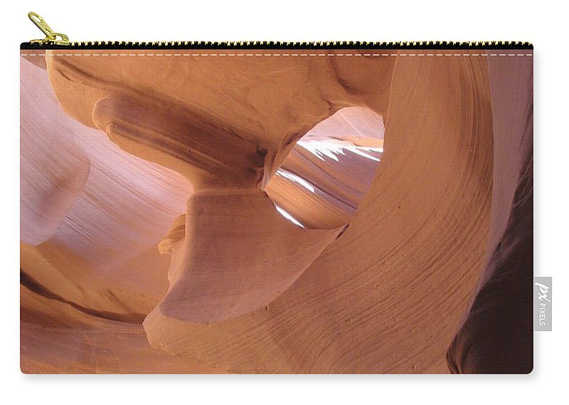 Narrow Canyon Carry-all Pouch featuring the photograph Face In The Stone by Christiane Schulze Art And Photography