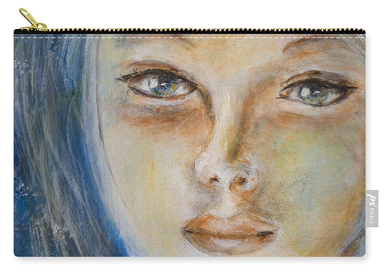 Angel Face Carry-all Pouch featuring the painting Face Of An Angel by Nik Helbig