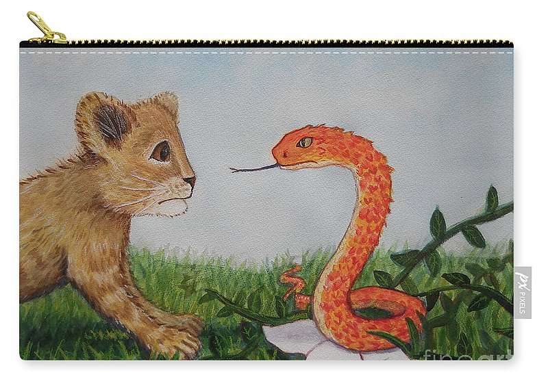 Lion Carry-all Pouch featuring the painting Face To Face Were A Lion And Snake by Sheena Kohlmeyer