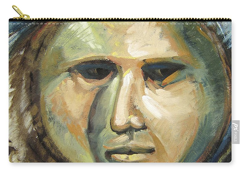 Mask Carry-all Pouch featuring the painting Faced With Blue by Randy Wollenmann