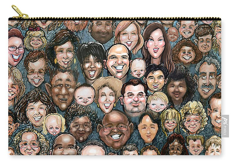 Face Carry-all Pouch featuring the digital art Faces Of Humanity by Kevin Middleton