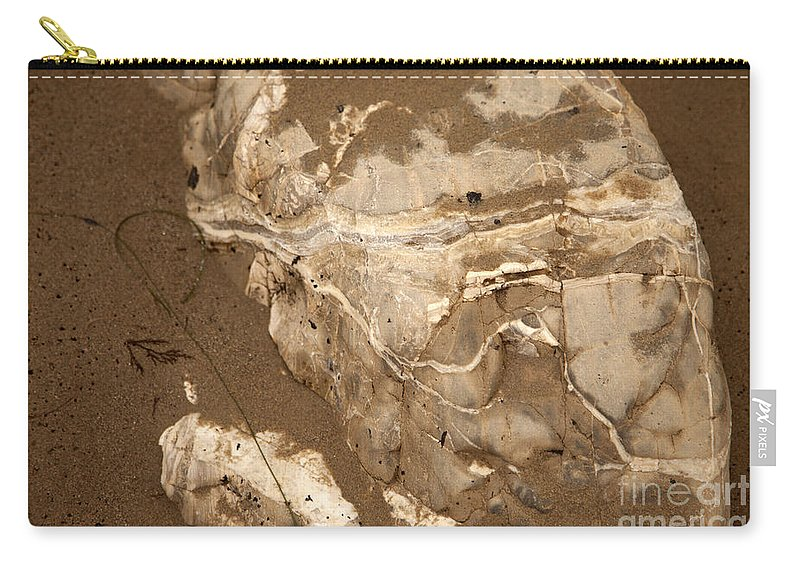 close Up Of Rocks In Sand Carry-all Pouch featuring the photograph Facing The Past by Amanda Barcon