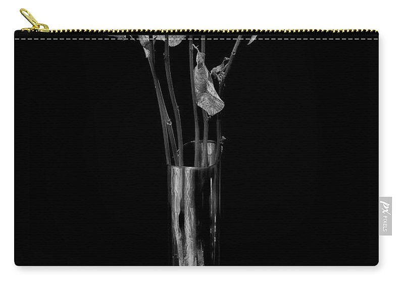Flower Carry-all Pouch featuring the photograph Faded Long Stems - Bw by Christopher Holmes