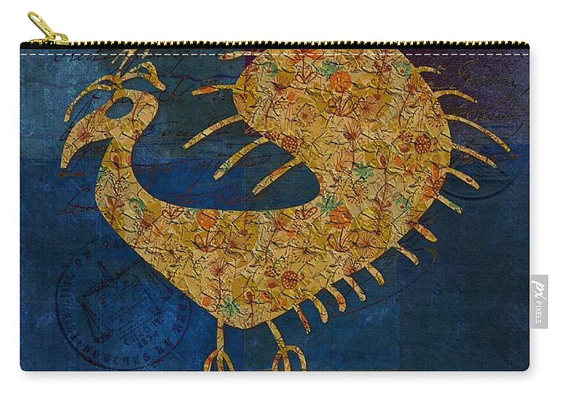 Bird Carry-all Pouch featuring the digital art Fafa Bird - 01c04alss by Variance Collections