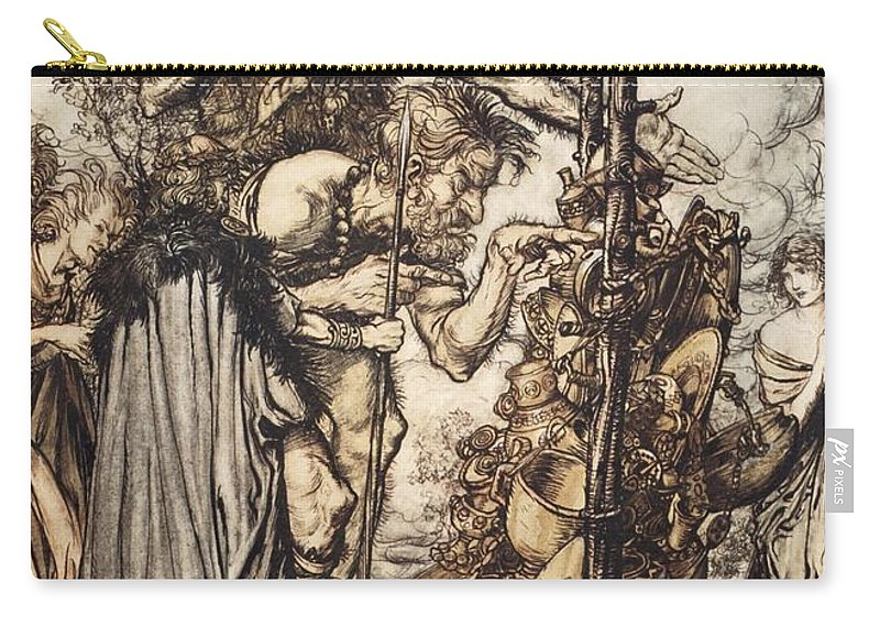 Der Ring Des Nibelungen Carry-all Pouch featuring the drawing Fafner Hey! Come Hither, And Stop by Arthur Rackham