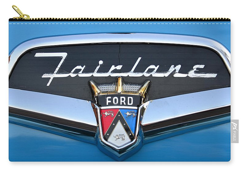1956 Ford Fairlane Nameplate Carry-all Pouch featuring the photograph Fairlane Name Plate by David Lee Thompson